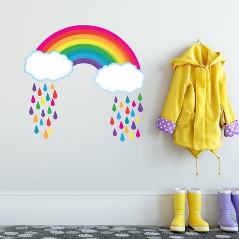 Bright Rainbow with Raindrops Wall Decals, Rainbow Wall Decal, Nursery Wall Stickers