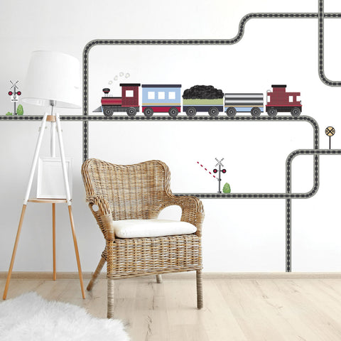 Red Caboose Freight Train Wall Decals & Railroad Track Straight & Curved (Left Facing) Col. 2 - Wall Dressed Up