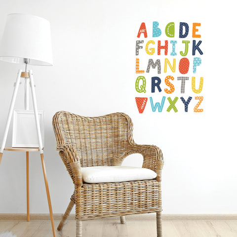 Alphabet Decals, Scandinavian Design Decals, ABC's, Navy Orange Teal Alphabet Fabric Wall Decals, Peel & Stick, Eco-Friendly Stickers Col 4
