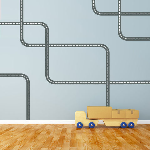 Gray Road Wall Decals with White Lines Curved and Straight, Fabric Wall Stickers - Wall Dressed Up