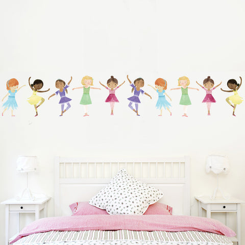 10 Dancing Ballerinas Wall Decals, Repositionable Eco-friendly Matte Fabric Wall Stickers
