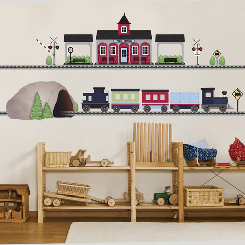 Train Wall Decals Train Station and Tunnel, 15 ft Straight Railroad Track, Color Navy 2 - Wall Dressed Up