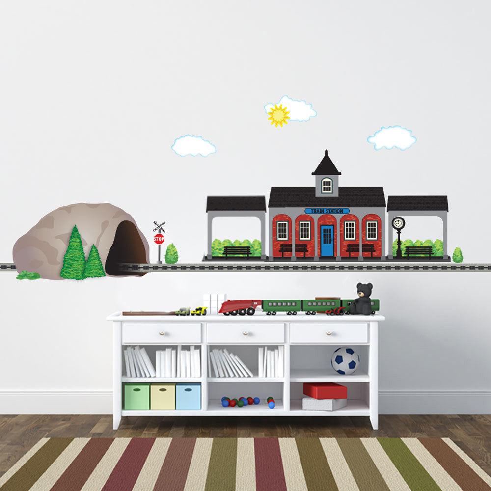 Train Station and Tunnel Wall Decals plus Straight Railroad Track - Wall Dressed Up - 1  sc 1 st  Wall Dressed Up & Train Station and Tunnel Wall Decals plus Straight Railroad Track
