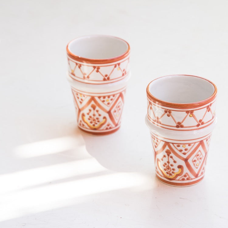 2 TASSES BELDI CÉRAMIQUE GOLD TERRACOTTA