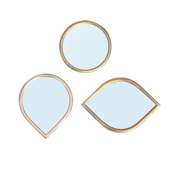 SERIE DE 3 MINI MIROIRS BORD ROND DECORATIF EN MAILLECHORT