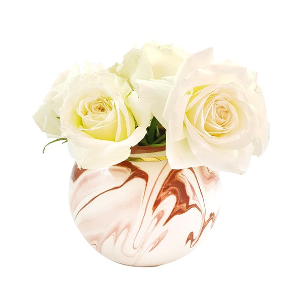 VASE BOULE TOURBILLON ROSE MARSALA GOLD