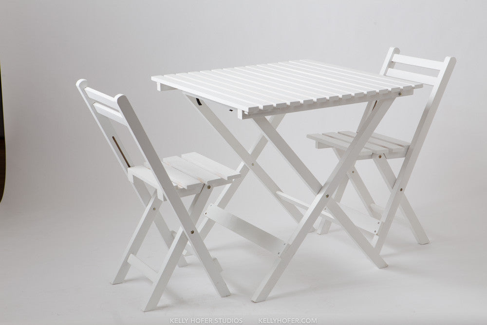White Bistro Table & Chairs Set – Picnic Merchant
