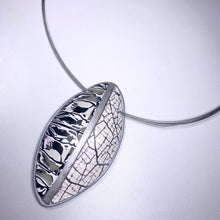 Load image into Gallery viewer, Black and White Statement Pod Shaped Polymer Clay Pendant Necklace