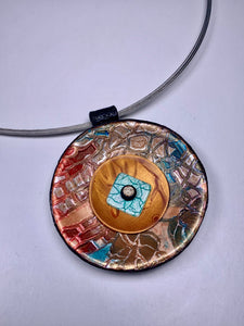 Polymer Clay Round Pendant Necklace- Stain Glass Effect