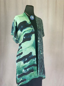 Shibori Silk Kimono style Statement Jacket, Green, Blue and Black