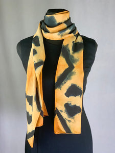 Hand Dyed Silk Shibori Scarf - Orange, Dark Blue and Black