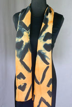 Load image into Gallery viewer, Hand Dyed Silk Shibori Scarf - Orange, Dark Blue and Black