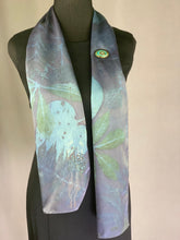 Load image into Gallery viewer, Silk Hand Dyed Botanical Print Scarf, Eco Print, Indigo Blue Organic Natural Dye