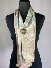 Load image into Gallery viewer, Silver and Brick Red Silk Hand Dyed Botanical Print Scarf, Madder Root Natural Dyes Eco Print