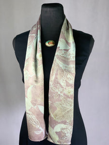 Silver and Brick Red Silk Hand Dyed Botanical Print Scarf, Madder Root Natural Dyes Eco Print