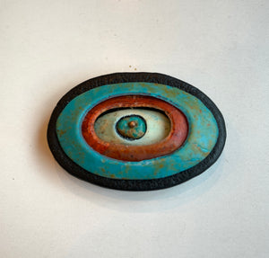 Handmade Polymer Clay Magnetic Brooch, Lightweight, Turquoise and Red Oval