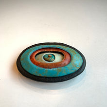 Load image into Gallery viewer, Handmade Polymer Clay Magnetic Brooch, Lightweight, Turquoise and Red Oval