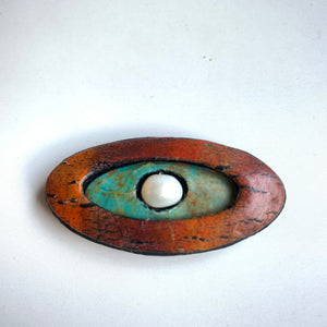 Lightweight Polymer Clay Magnetic Brooch,Red and Turquoise Oval with Pearl Center