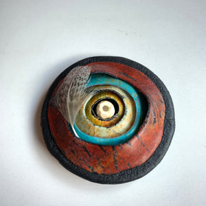 Polymer Clay Magnetic Round Brooch, Lightweight, Turquoise and Red
