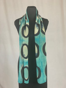 Hand Dyed Silk Shibori Scarf - Black and Turquoise