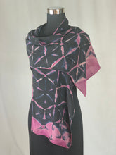 Load image into Gallery viewer, Hand Dyed Silk Shibori Scarf - Plum, Dark Blue and Black