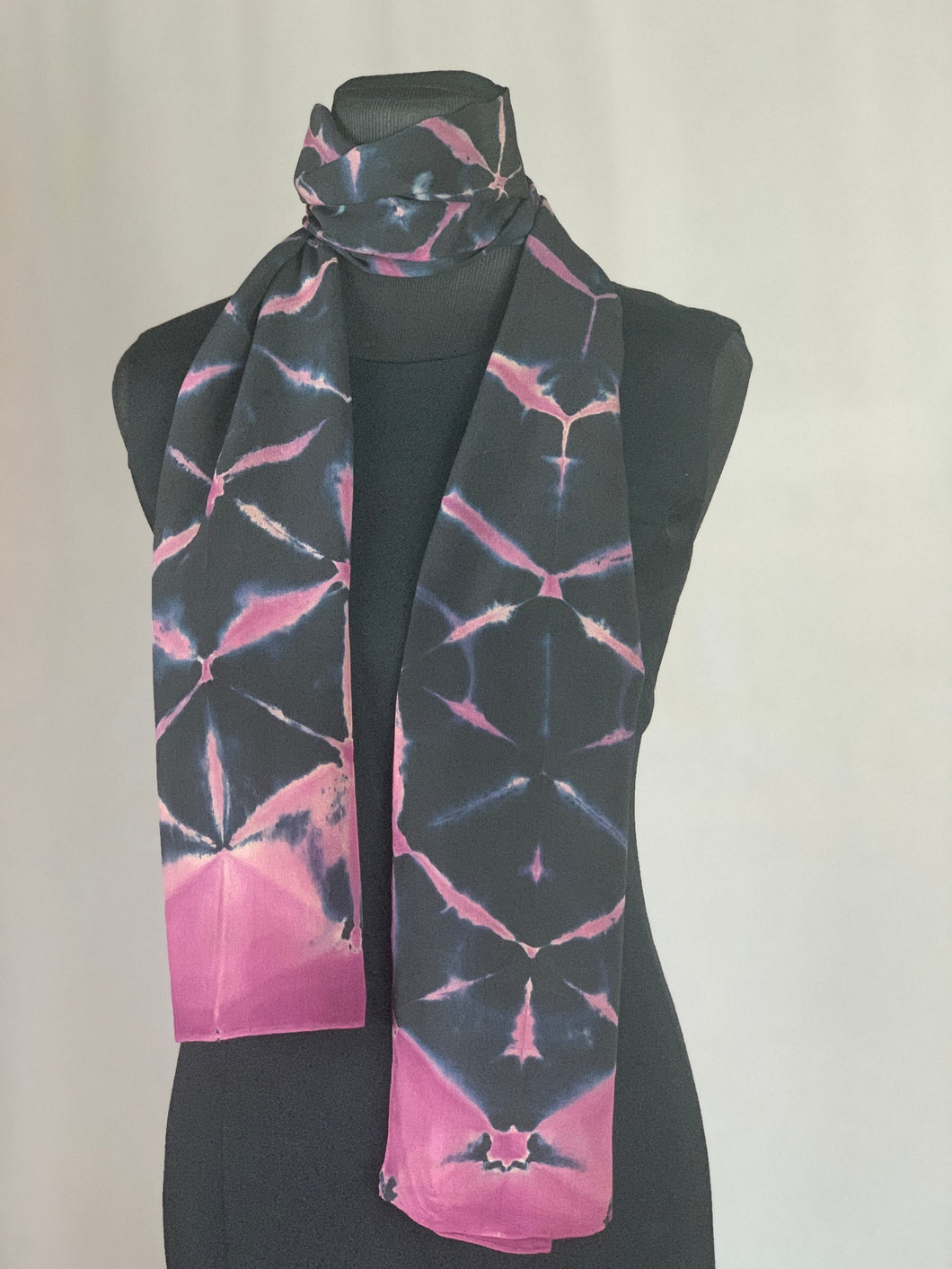 Hand Dyed Silk Shibori Scarf - Plum, Dark Blue and Black