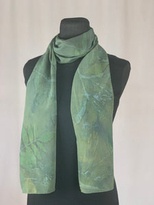Silk Hand Dyed Botanical Print Scarf, Shades of Green and Blue Eco Print
