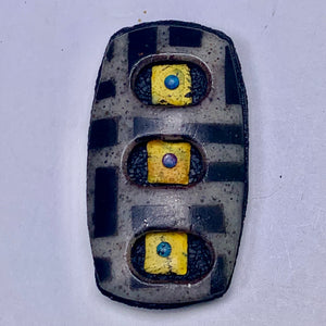Polymer Clay Magnetic Brooch - Black, Grey, and Yellow Geometric Patterns