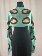 Load image into Gallery viewer, Hand Dyed Silk Shibori Scarf - Black and Turquoise