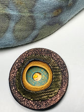 Load image into Gallery viewer, Magnetic Brooch - Round Polymer Clay, Bronze, Antique Gold, Turquoise