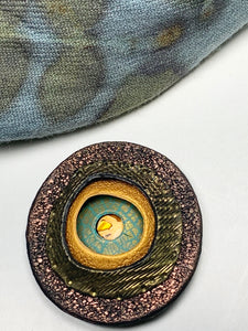 Magnetic Brooch - Round Polymer Clay, Bronze, Antique Gold, Turquoise