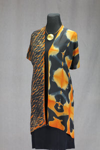 Shibori Silk Kimono Statement Piece- One Size, Burnt Orange and Black