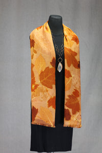 Hand Dyed Botanical Print Wool Shawl - Natural Dyes, Burnt Orange