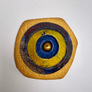 Gold, Blue, Yellow Polymer Clay Magnetic Brooch - Irregular Shape with Pearl Center