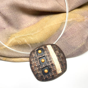 Lightweight Rounded Rectangle Polymer Clay Pendant Necklace Statement