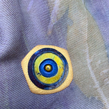 Load image into Gallery viewer, Gold, Blue, Yellow Polymer Clay Magnetic Brooch - Irregular Shape with Pearl Center