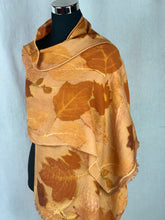 Load image into Gallery viewer, Hand Dyed Botanical Print Wool Shawl - Natural Dyes, Burnt Orange