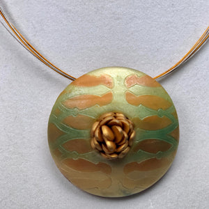 Gold, Orange and Green Polymer Clay Pendant Necklace