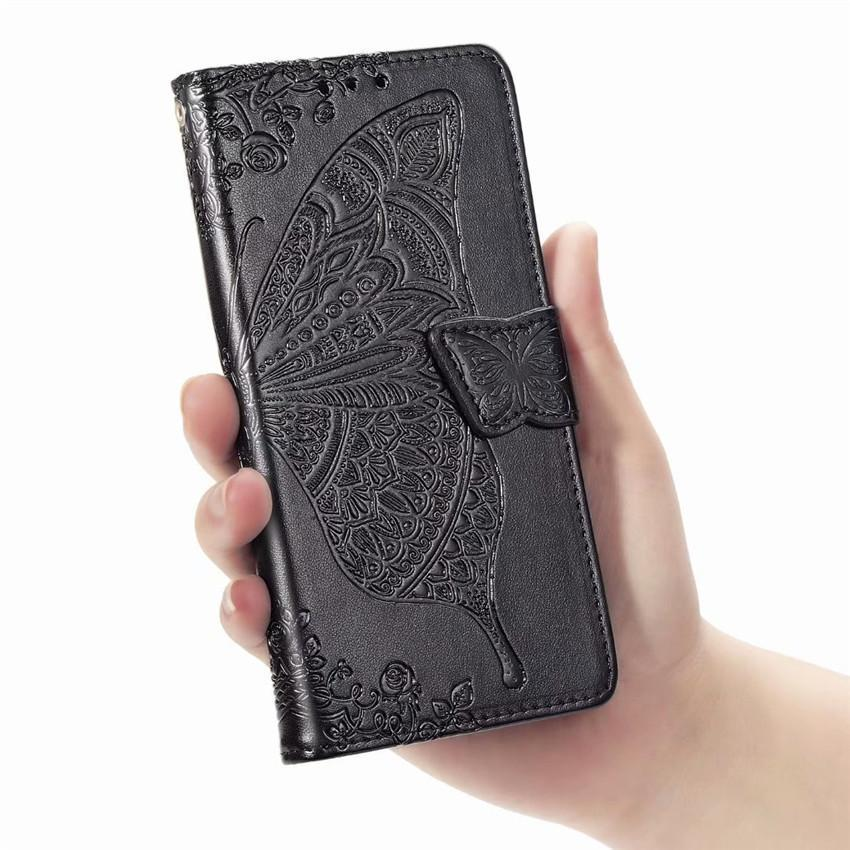 2020 Luxury Embossed Butterfly Leather Wallet Flip Case for LG