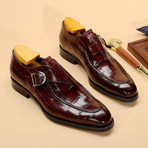 Vintage Crocodile Pattern Monk Shoes