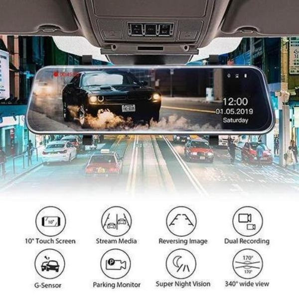 2020 Full-Screen LCD Rearview Mirror, Front And Rear Car