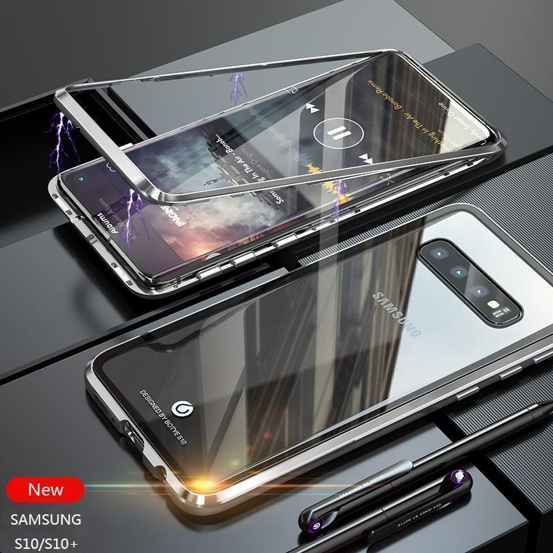 2019 New Magnetic Adsorption Metal Clear Glass Protective Case for Samsung Galaxy S10 / S10 Plus