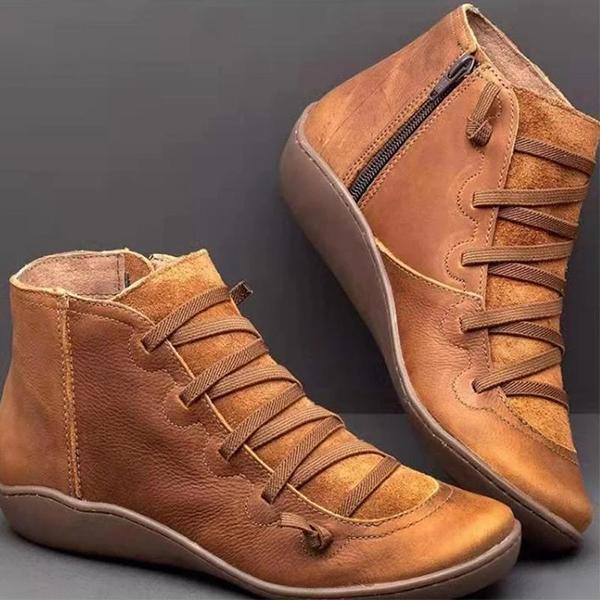 Casual Vintage Zipper Round-toe Flat Booties
