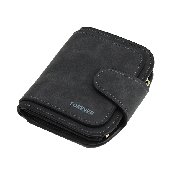 Leather Zipper Short Wallet Card Holder