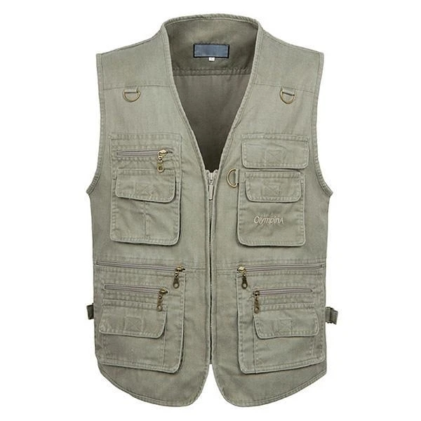 Men Casual Large Size Sleeveless Multi-pocket Photography Vest
