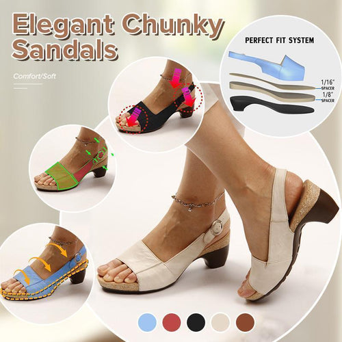 2020 Elegant Comfortable Low Chunky Heel Summer Sandals