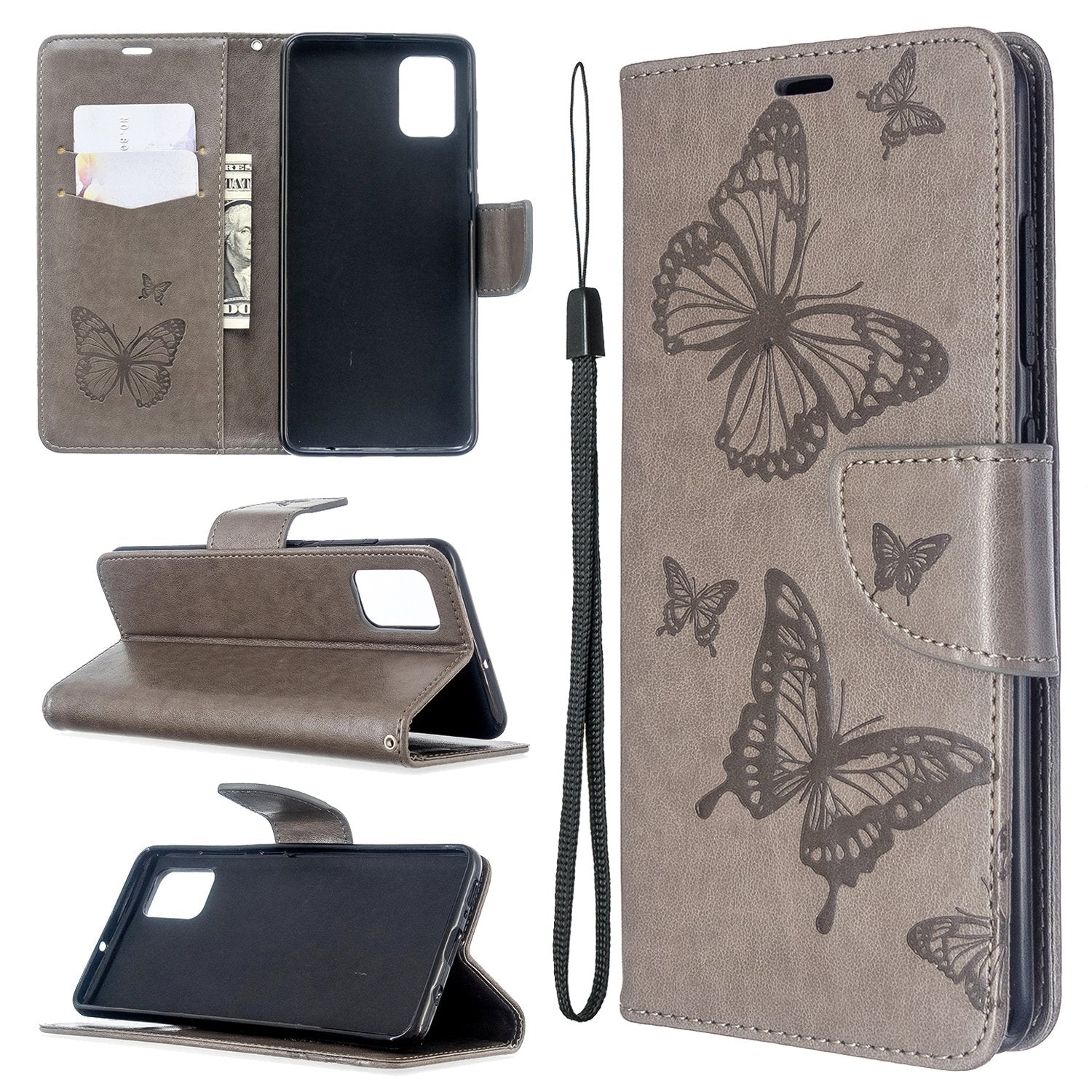 2020 Embossed Butterfly Pattern Flip Phone Case For Samsung Galaxy A51/A71