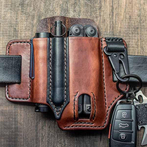 Unique Vintage Leather Multitool Sheath Belt Loop Waist Bag