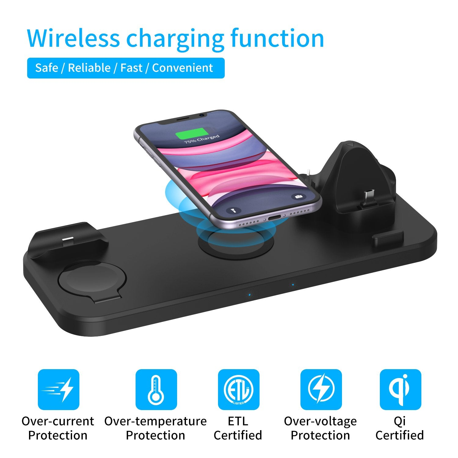 6-in-1 Qi-Certified QC3.0 Wireless Charging Station, with iWatch Holder, 360°Rotatable Design and Max 18W Power, for Apple Watch, Airpods, iPhone and All Qi-Enabled Devices