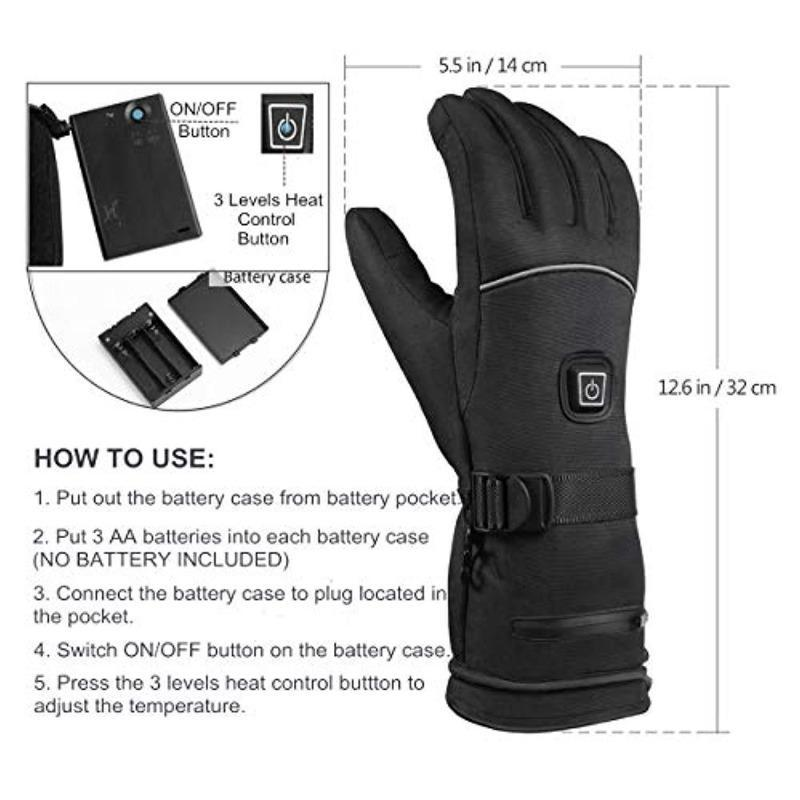 Winter Heated Gloves 3 Levels Temperature Control Hand Warmers with Touch Screen